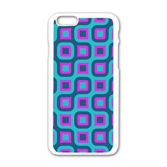Blue purple squares pattern Apple iPhone 6 White Enamel Case
