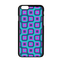 Blue Purple Squares Pattern Apple Iphone 6 Black Enamel Case
