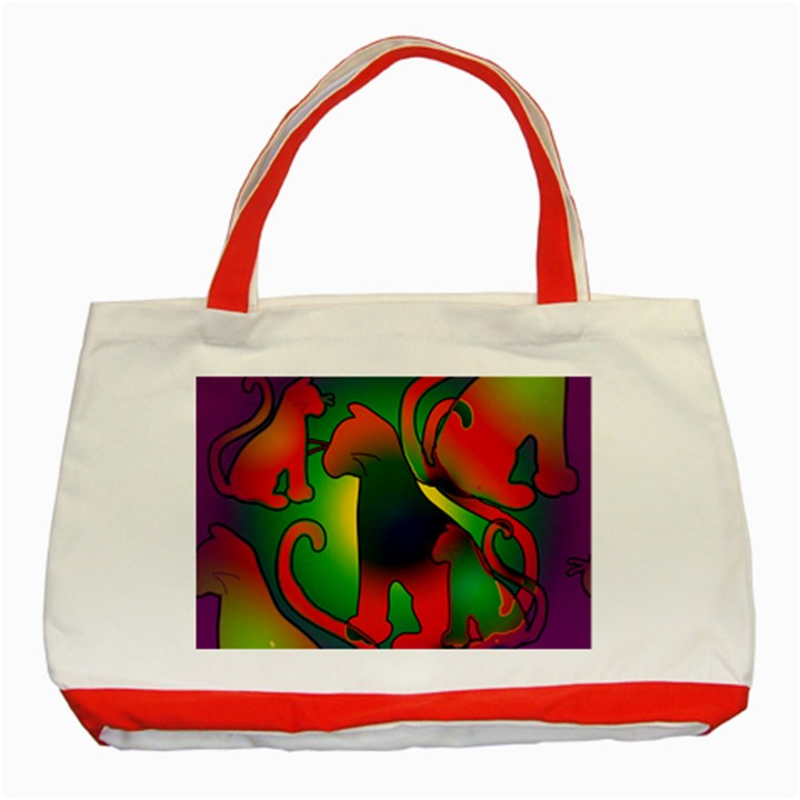Rainbow Purple Cats Classic Tote Bag (Red)