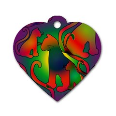 Rainbow Purple Cats Dog Tag Heart (Two Sided)