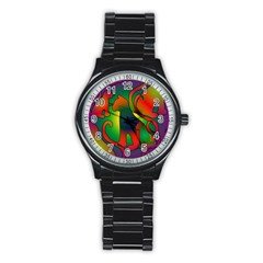 Rainbow Purple Cats Sport Metal Watch (black)