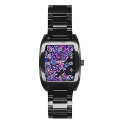 Abstract Lilacs Stainless Steel Barrel Watch