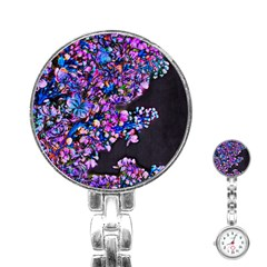 Abstract Lilacs Stainless Steel Nurses Watch