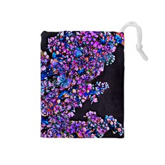Abstract Lilacs Drawstring Pouch (Medium)