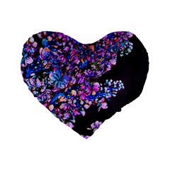 Abstract Lilacs 16  Premium Flano Heart Shape Cushion