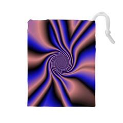 Purple blue swirl Drawstring Pouch (Large)