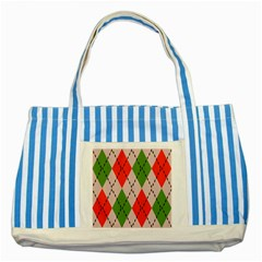 Argyle Pattern Abstract Design Striped Blue Tote Bag