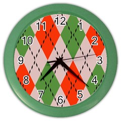Argyle Pattern Abstract Design Color Wall Clock