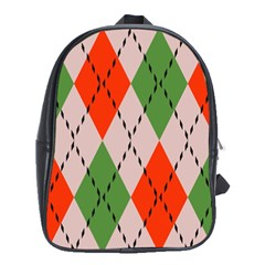 Argyle Pattern Abstract Design School Bag (xl)