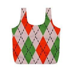 Argyle pattern abstract design Full Print Recycle Bag (M)
