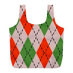 Argyle pattern abstract design Full Print Recycle Bag (L)