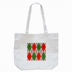Argyle pattern abstract design Tote Bag (White)