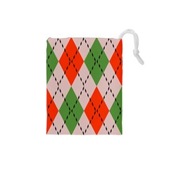 Argyle pattern abstract design Drawstring Pouch (Small)
