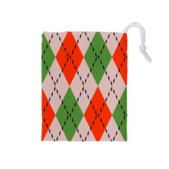 Argyle pattern abstract design Drawstring Pouch (Medium)