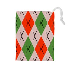Argyle pattern abstract design Drawstring Pouch (Large)