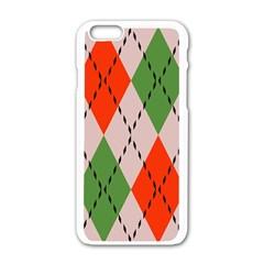 Argyle pattern abstract design Apple iPhone 6 White Enamel Case