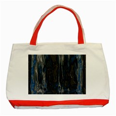 Blue Black Texture Classic Tote Bag (red)