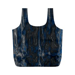 Blue Black Texture Full Print Recycle Bag (m)