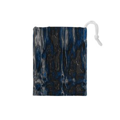 Blue black texture Drawstring Pouch (Small)