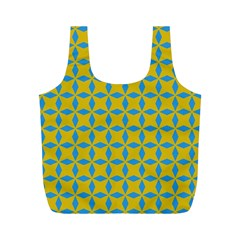 Blue diamonds pattern Full Print Recycle Bag (M)