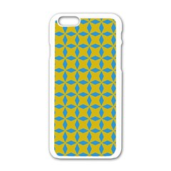 Blue diamonds pattern Apple iPhone 6 White Enamel Case
