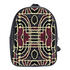Tribal Style Ornate Grunge Pattern  School Bag (large)