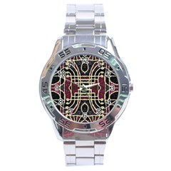 Tribal Style Ornate Grunge Pattern  Stainless Steel Watch