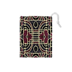 Tribal Style Ornate Grunge Pattern  Drawstring Pouch (Small)