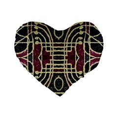 Tribal Style Ornate Grunge Pattern  16  Premium Flano Heart Shape Cushion