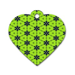 Blue flowers pattern Dog Tag Heart (Two Sides)