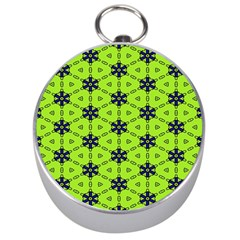 Blue flowers pattern Silver Compass