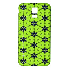 Blue flowers pattern Samsung Galaxy S5 Back Case (White)