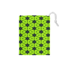 Blue flowers pattern Drawstring Pouch (Small)