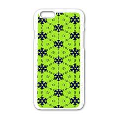Blue flowers pattern Apple iPhone 6 White Enamel Case