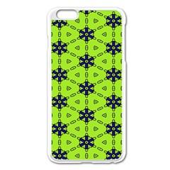 Blue Flowers Pattern Apple Iphone 6 Plus Enamel White Case