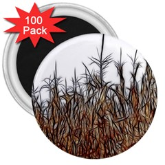 Abstract Of A Cornfield 3  Button Magnet (100 Pack)