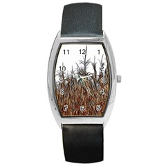 Abstract Of A Cornfield Tonneau Leather Watch