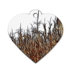 Abstract Of A Cornfield Dog Tag Heart (two Sided)