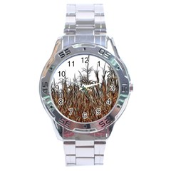 Abstract Of A Cornfield Stainless Steel Watch