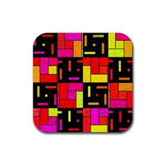 Squares And Rectangles Rubber Square Coaster (4 Pack)