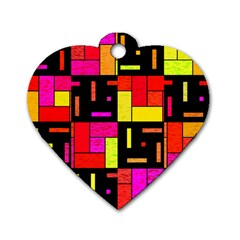 Squares And Rectangles Dog Tag Heart (two Sides)
