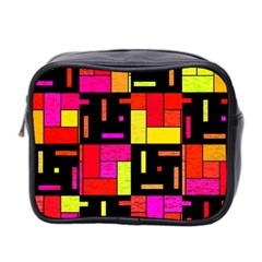 Squares And Rectangles Mini Toiletries Bag (two Sides)