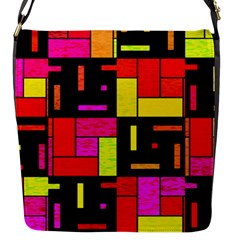 Squares And Rectangles Flap Closure Messenger Bag (small)