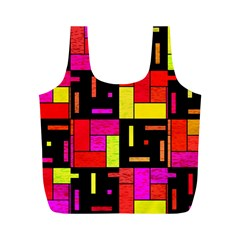 Squares And Rectangles Full Print Recycle Bag (m)