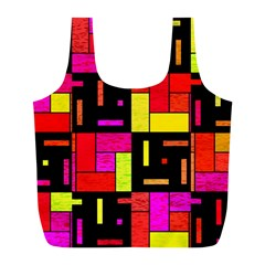 Squares And Rectangles Full Print Recycle Bag (l)