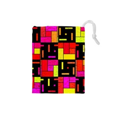 Squares and rectangles Drawstring Pouch (Small)