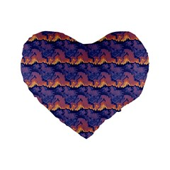 Pink Blue Waves Pattern 16  Premium Heart Shape Cushion