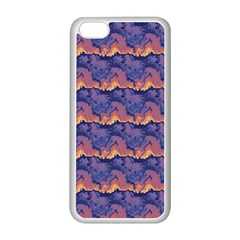 Pink blue waves pattern Apple iPhone 5C Seamless Case (White)
