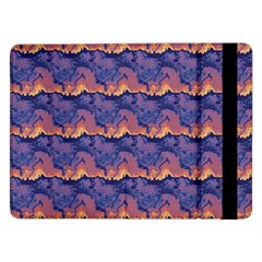 Pink Blue Waves Pattern Samsung Galaxy Tab Pro 12 2  Flip Case
