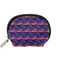 Pink Blue Waves Pattern Accessory Pouch (small)